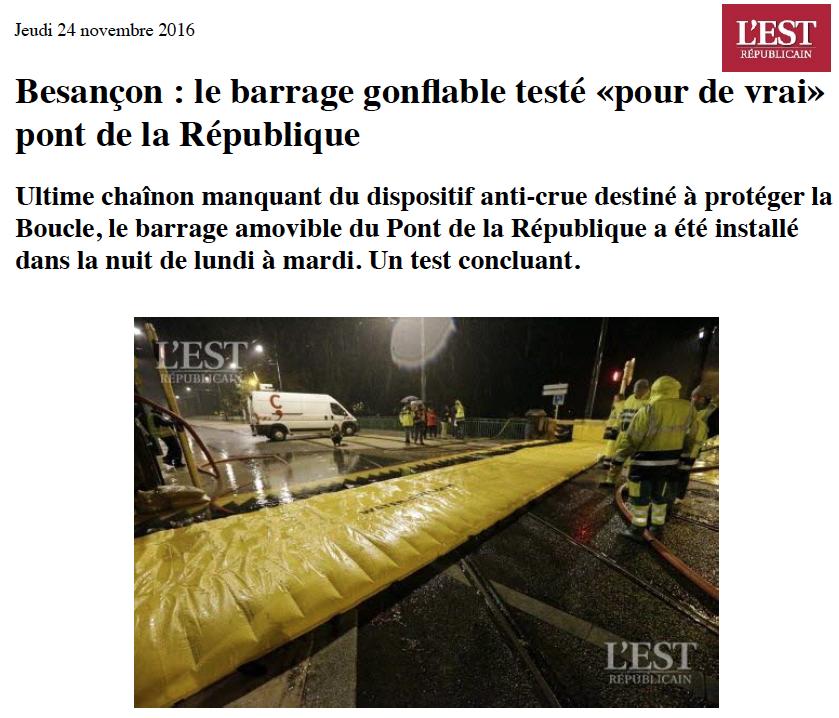 L'Est Républicain : protection inondation de Besançon