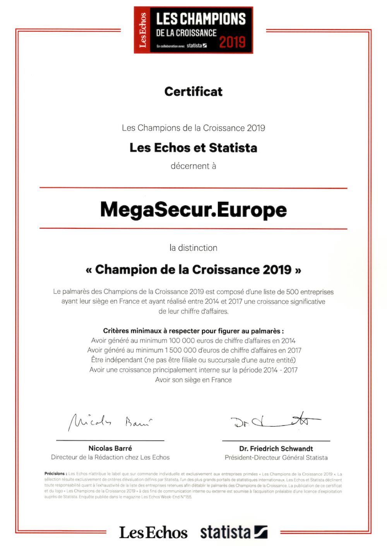 MegaSecur Europe champion de la croissance les echos