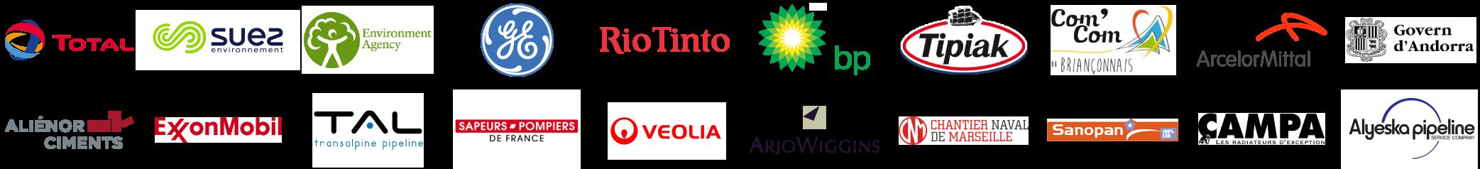 Logos des clients de MegaSecur.Europe pour les barrières anti pollution Water-Gate©
